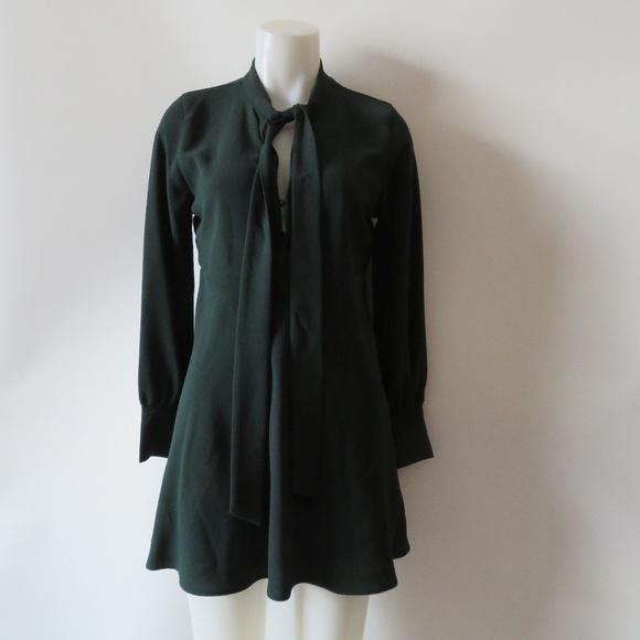 bbafc910 Zara Dresses | Hunter Green Necktie Empire Waist Dress Sz M | Poshmark